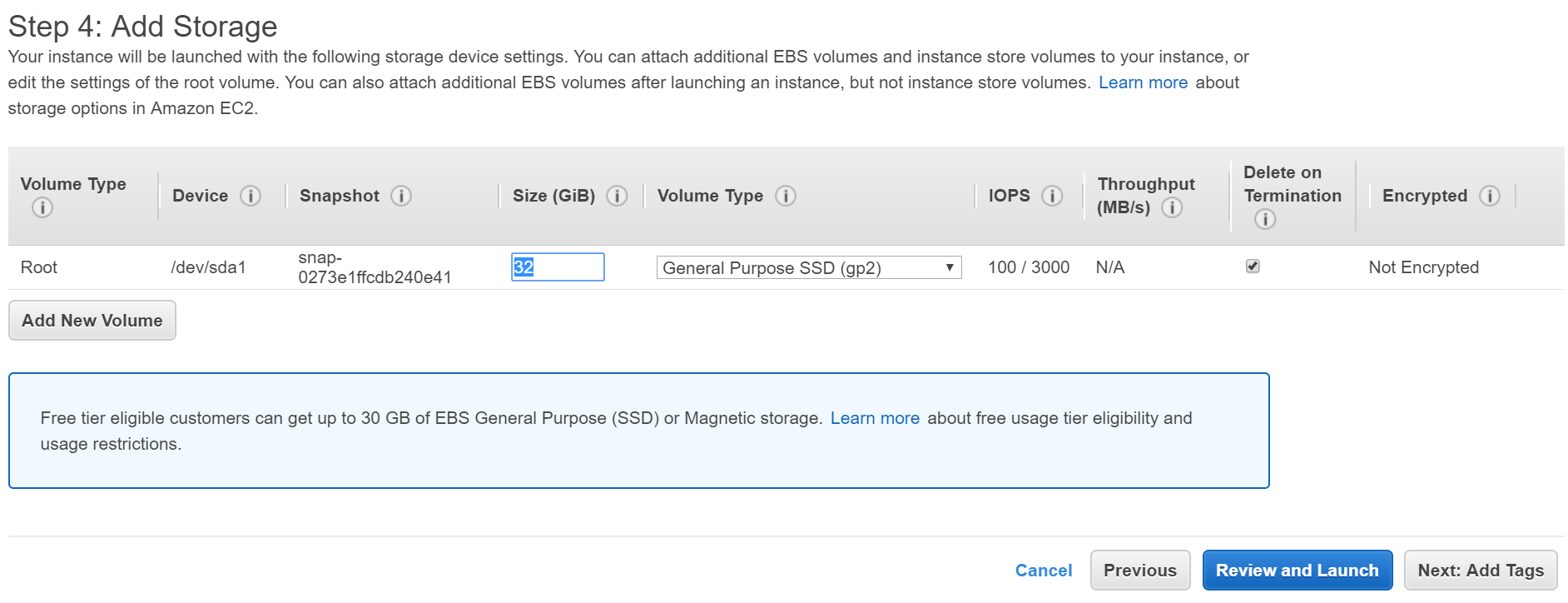 Add Storage for instance in AWS