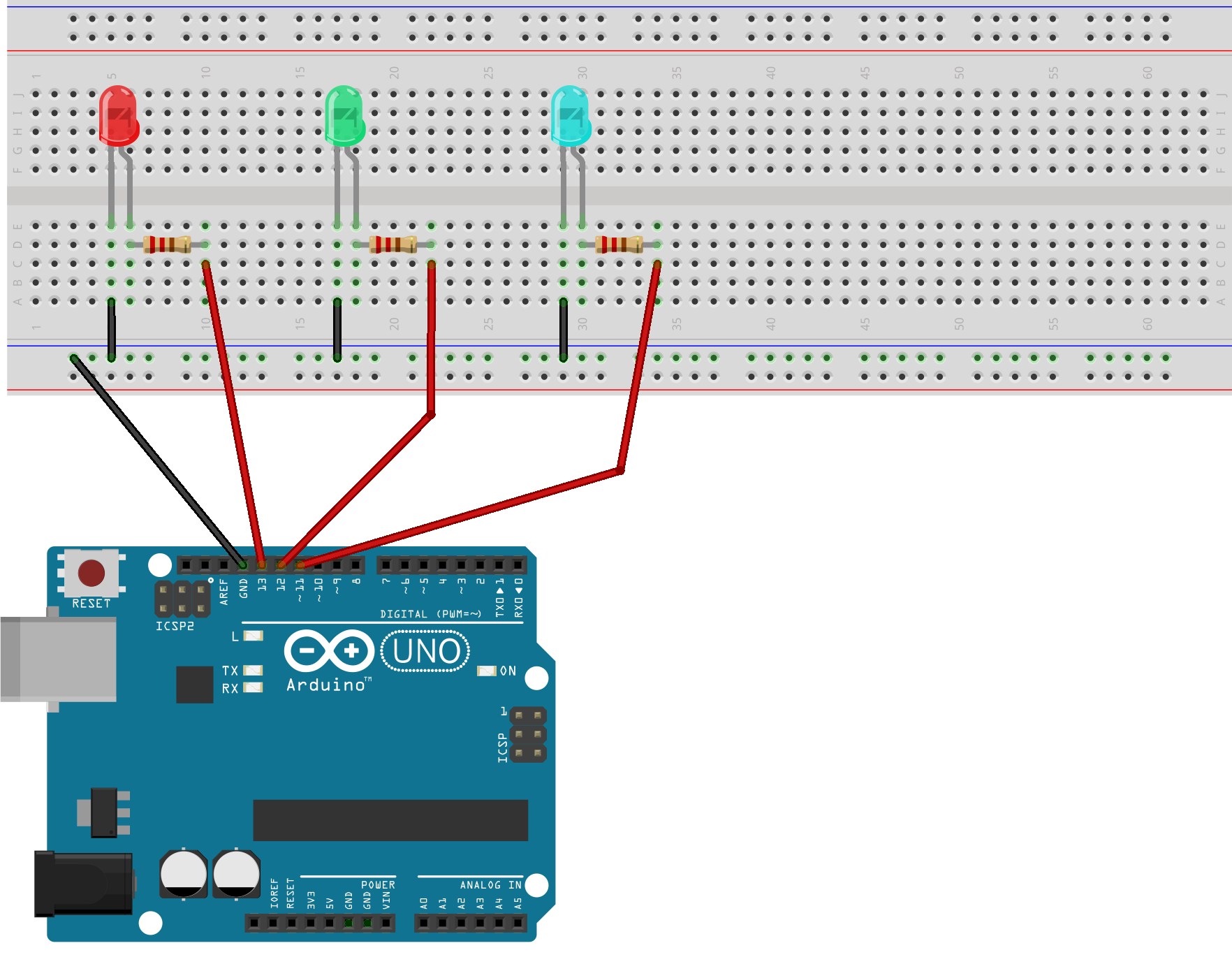 Arduino Led Blink (Traffic light system)