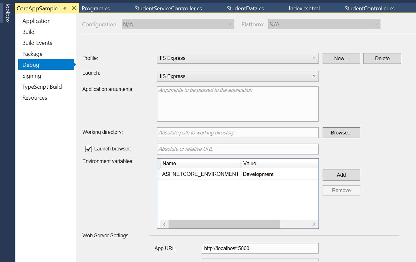 Changing Host URL in Visual Studio 2017
