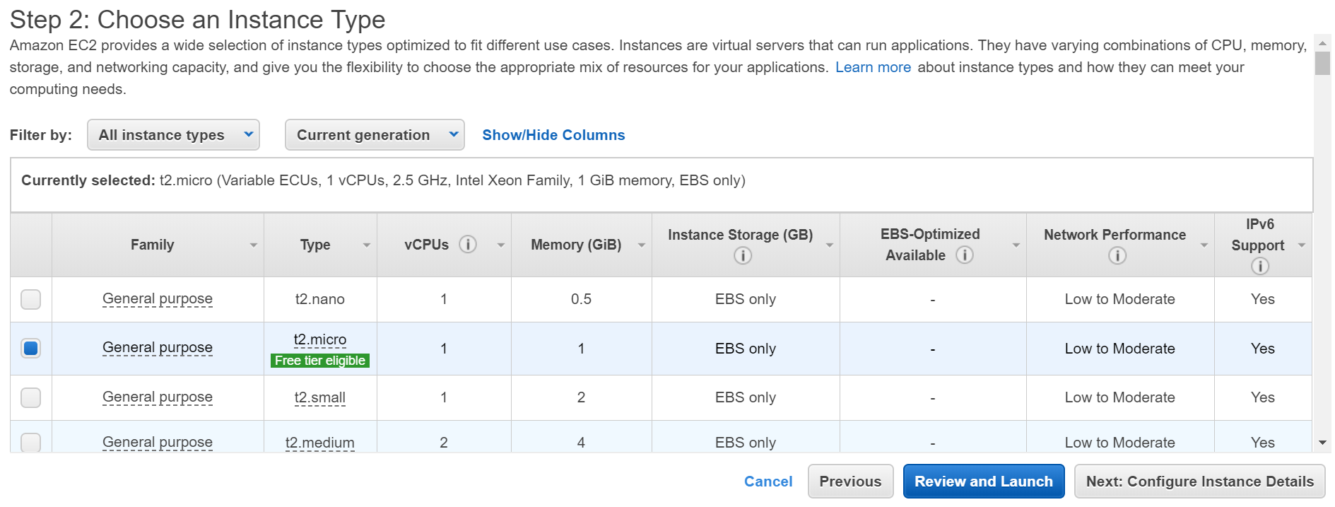 Choose instance type in AWS