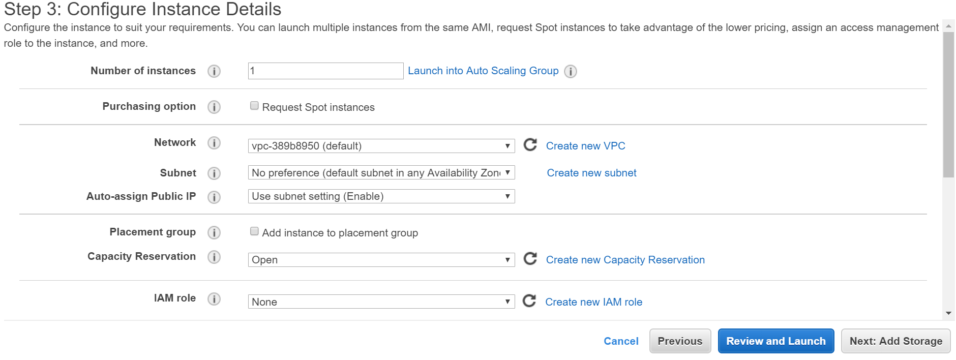 Configure instance details in AWS