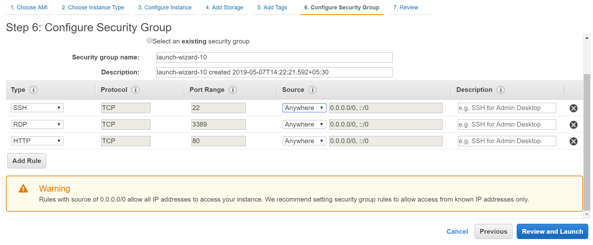 Configure security group in AWS