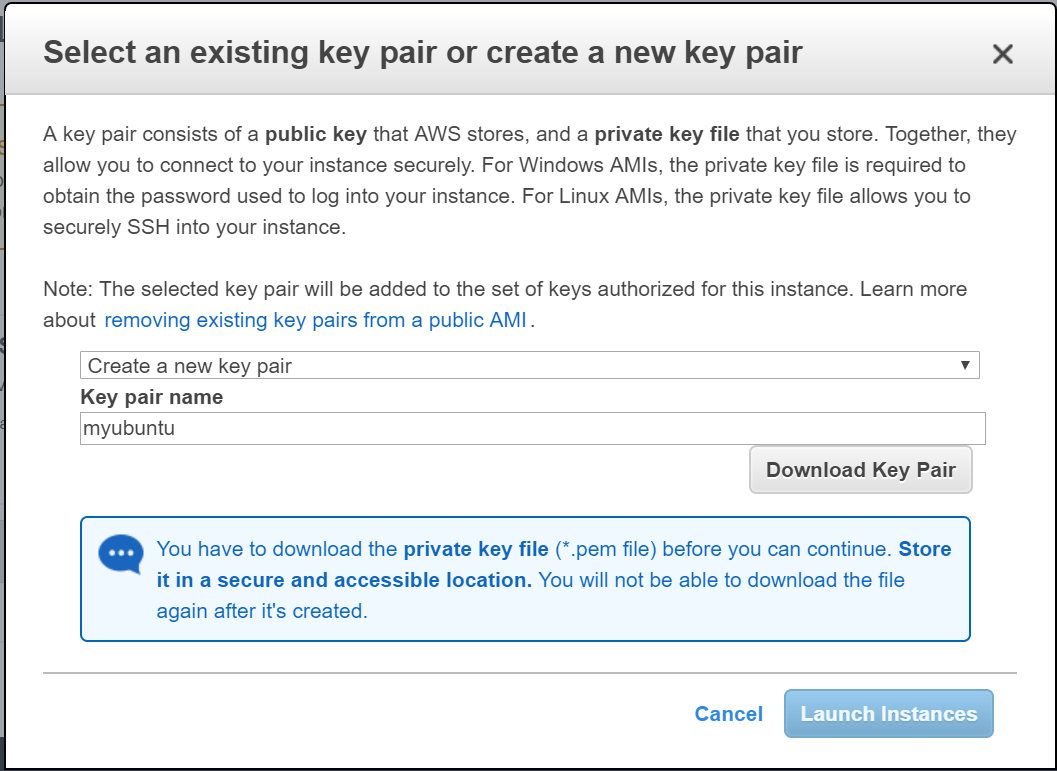 Create key pair in AWS