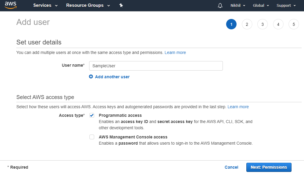 Create new user in AWS