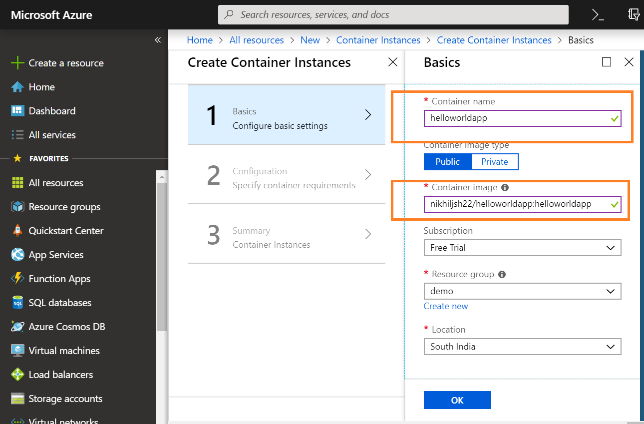 Creating container on Azure