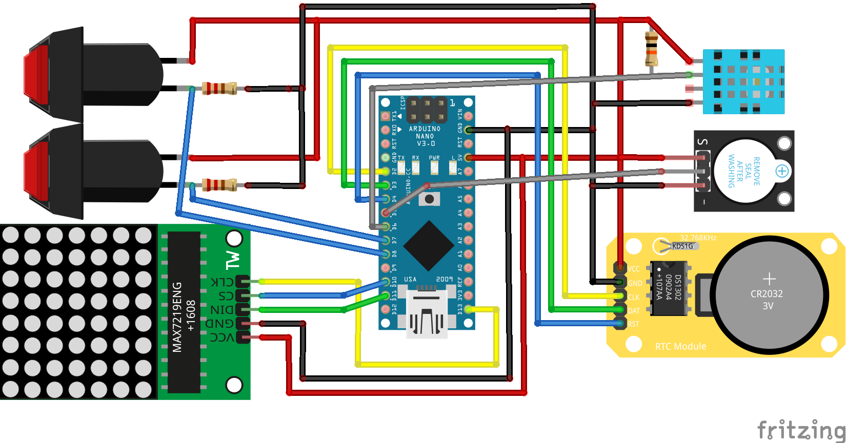 Digital clock Circuit diagram with Arduino nano, RTC, DHT, MAX7219, Buzzer