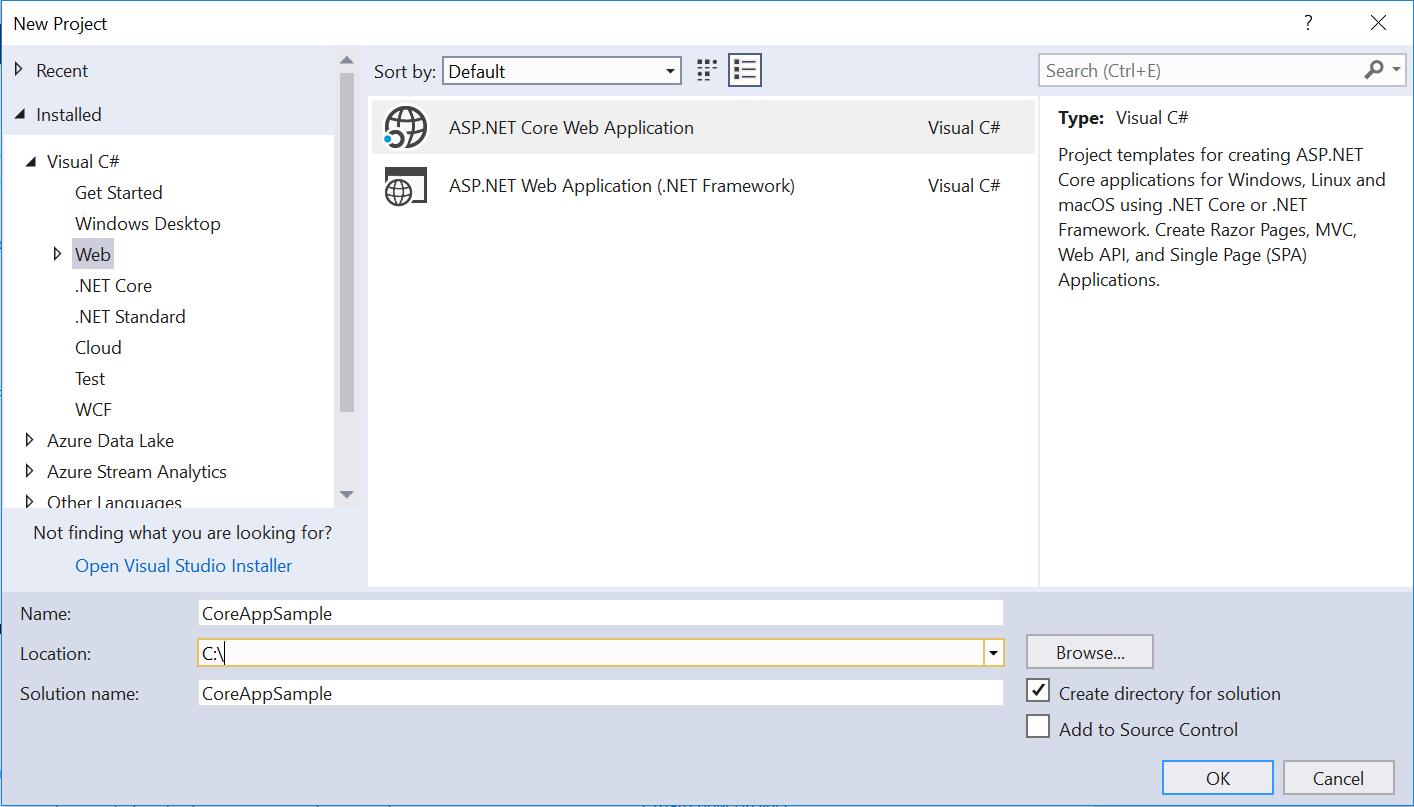 New Project Asp.net Core in Visual Studio 2017