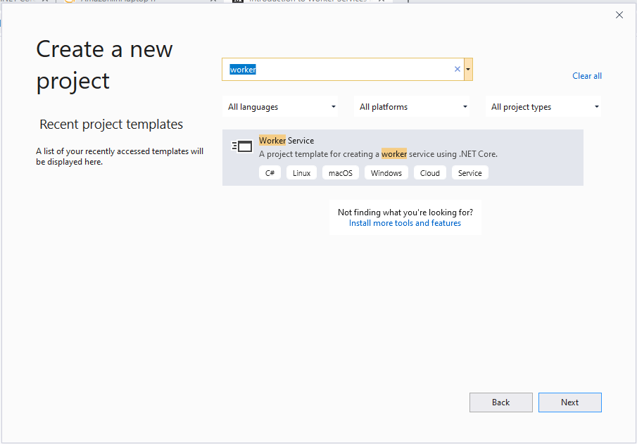 New worker service in visual studio
