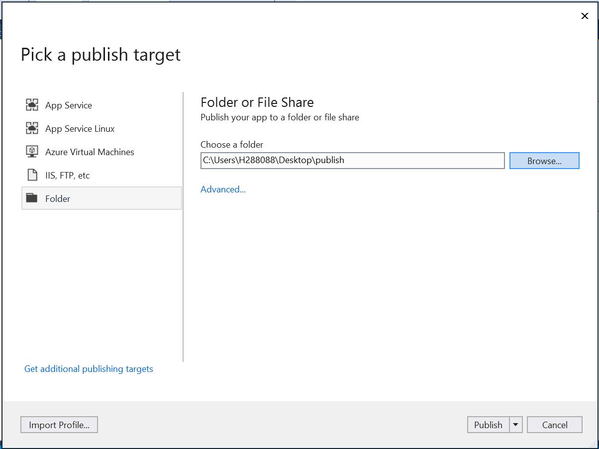 Publish dotnet core application to local folder