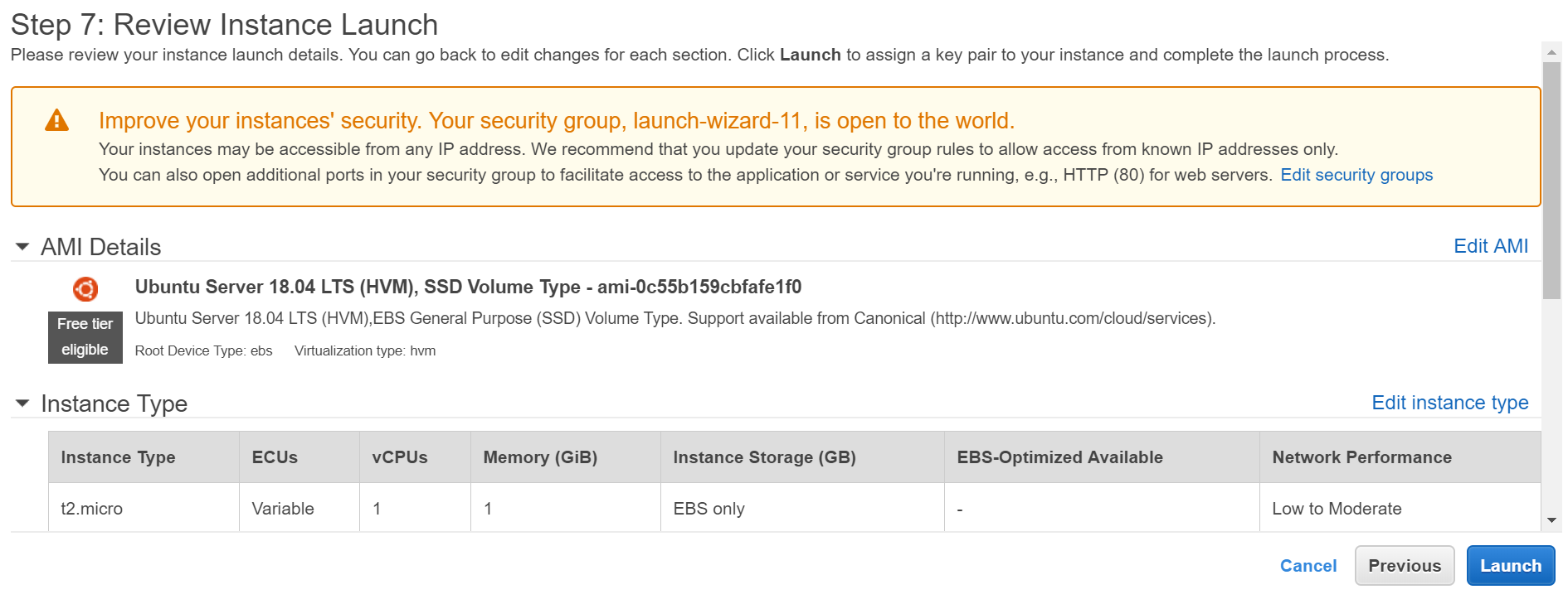 Review instance Details in AWS