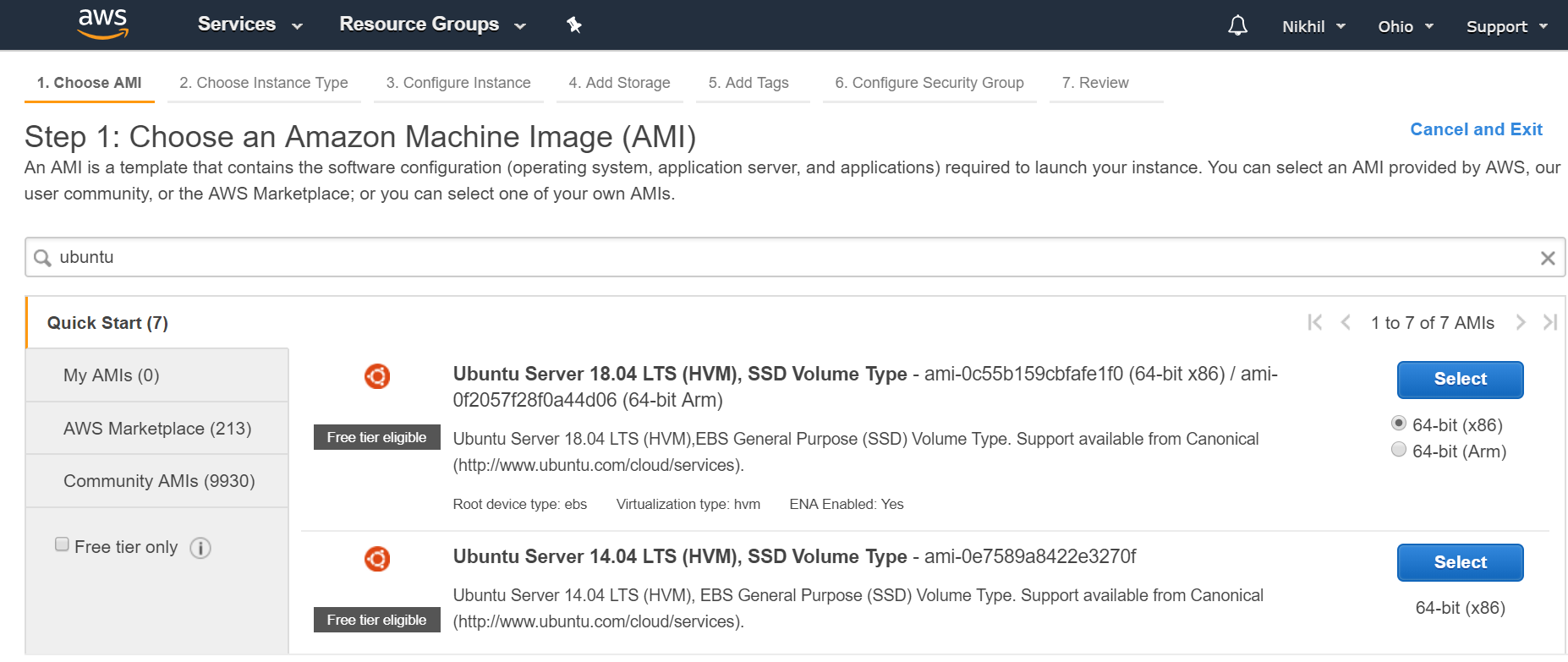 Selecting operating system for instance in AWS