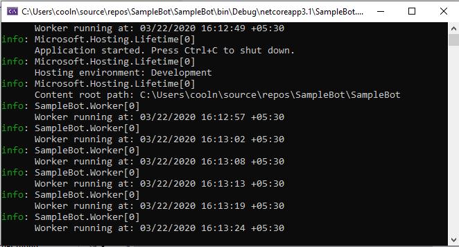 .net core wroker service running